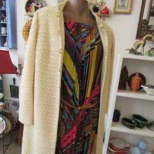 Vintage Cream Crotchet Mod Long Spring Coat